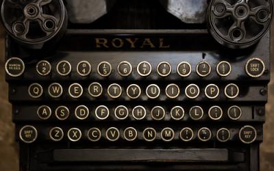 A Salesperson Behind a Typewriter